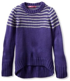 Energie Girls 7-16 Violet High Low Sweater, Purple/Grey, « Impulse Clothes