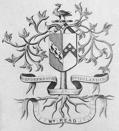 Bookplate of William Read Description: States, 'Wm. Read' with motto 'Indefessus vigilando;' features a shield with a diagonal of three birds, a chevron of three roundels, a crest with a belt and a bird, and a tree. Unsigned. Format: 1 print, b&w, 10 x 8 cm. Source: Pratt Institute Libraries, Special Collections 862 (sc00544)