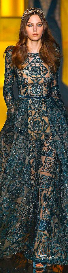 Elie Saab ~ Haute Couture Embroidered Sequined Teal Gown,Fall 2015
