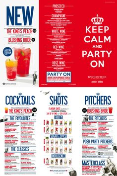 Keep Calm Cocktail Menu, Typography, Vintage Illustrations and Graphic Design by www.diagramdesign.co.uk