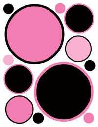 Pink Black Polka Dots wall decals for baby girl nursery, kids room, and childrens bedroom art decor #decampstudios