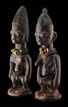 Africa   Ibeji Twin Figures ~ ere-ibeji ~ from the Yoruba people of Nigeria   Wood, glass beads and coconut slices