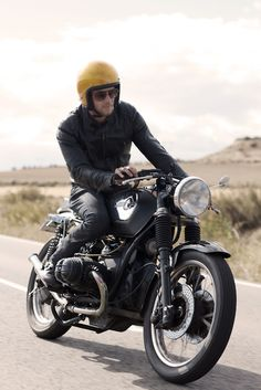The Yellow helmet is the point of his motorcycle fashion. #motorcycle_apparel #Man_biker HelmetCity.com