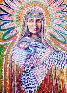 Hibou Blanc galaxie star amérindien hibou plumes déesse art visionnaire