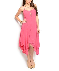 Another great find on #zulily! Coral Open-Back Handkerchief Dress by Buy in America #zulilyfinds