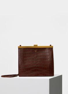 8303784600 CÉLINE - Mini Clasp Shoulder Bag in Wood Crocodile Celine Bag