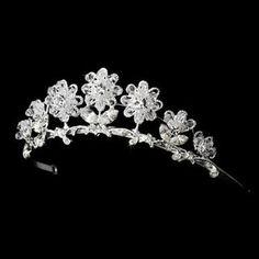 Flower Girl Headpiece, Bella Bridal, Wedding Tiaras, Silver Tiara, Bridal Tiara, Tiaras And Crowns, Crystal Wedding, Silver Flowers