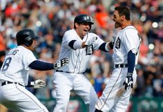 Detroit Tiger, Ian Kinsler on right, launched his first home run......April, 2014