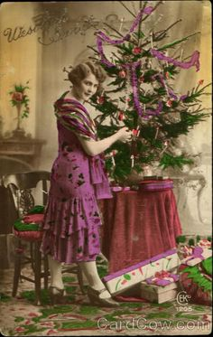 Wesotych Swiat Tinted Christmas postcard - 1926