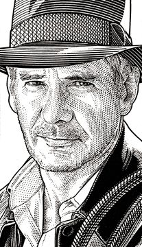 Harrison Ford. Wall Street Journal Hedcuts by Randy Glass, via Behance