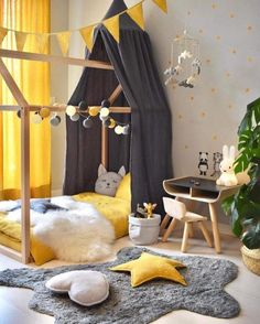 In order to get an effective result in kids room decoration, some basic things need to be paid attention. For example, the kids room need to have the … - Beautiful Kids Bedroom Design That Will Make Kids Happy Baby Bedroom, Baby Boy Rooms, Baby Room Decor, Girls Bedroom, Bedroom Yellow, Kids Wall Decor, Kid Bedrooms, Playroom Decor, Nursery Decor