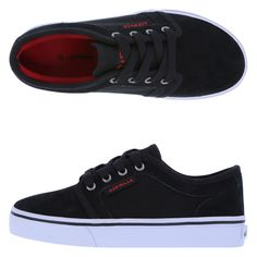 The classic cool style of the Rieder Skate Shoe will give him style points everywhere he goes. It features a combination upper with suede and canvas, laces for good fit, padded collar, soft terry lining, padded insole, and a built-up, non-marking outsole. Suede and manmade materials.