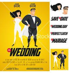 Funny super hero movie poster wedding invitation vector on VectorStock® Keywords: #weddings #jevelweddingplanning Follow Us: www.jevelweddingplanning.com  www.facebook.com/jevelweddingplanning/