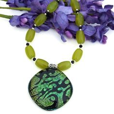 Green Flames Dichroic Glass Pendant Necklace Handmade Beaded Jewelry | ShadowDogDesigns - Jewelry on ArtFire @shadowdog #afpounce #TY