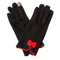Bow Gloves-Black/Red - Occasionally Made - Classic Gifts with a Trendy Twist!