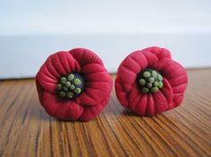 Red Poppy Flower Gauges / Plugs  size 00 or by WhimsyByKrista, $20.00
