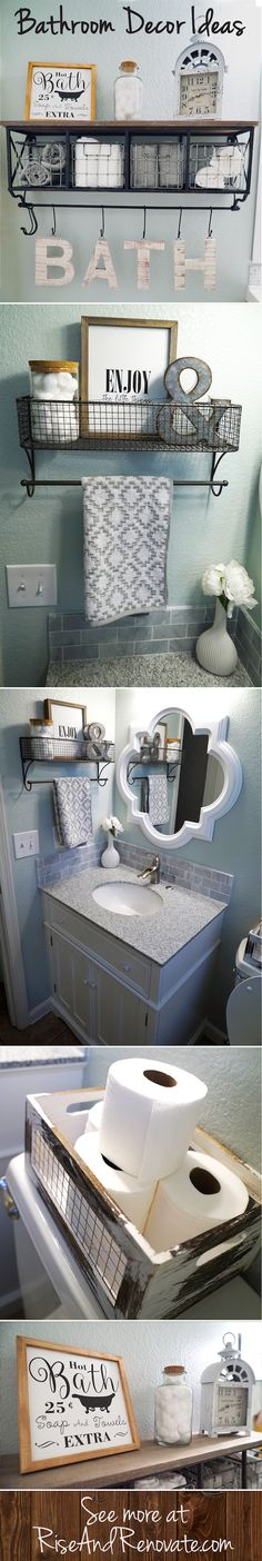 Bathroom Makeover | Sherwin Williams Sea Salt | Pinterest Makeover | Farmhouse Decor | Vintage Decor | Rolled Towels | Marble Counter Top | Painting Bathroom Vanity | Framing a Bathroom Mirror | DIY Projects | DIY Bathroom Project | Bathroom Paint | Bathroom Decor Ideas | White Grey Teal Blue | Dark Metal Bathroom Faucet | Pinterest Bathroom | Farmhouse Bathroom Decor | Vintage Bathroom Decor