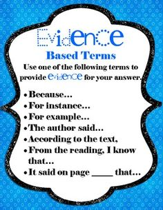 Great for Writing Open Response Answers! Evidence Based Terms Love this for open response writing