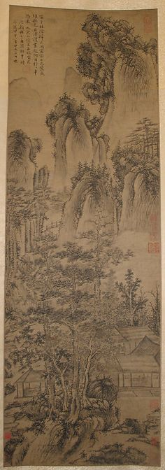 A Landscape Unidentified Artist Artist: Formerly Attributed to Wang Fu (Chinese, Period: Ming or Qing dynasty Date: dated 1404 Asian Landscape, Chinese Landscape Painting, Japanese Painting, Chinese Painting, Chinese Art, Landscape Paintings, Japanese Drawings, Japanese Prints, Ink Painting