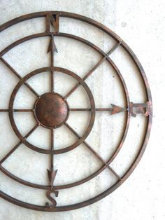 Nautical Decor Metal Compass Wall Art Compass by honeywoodhome