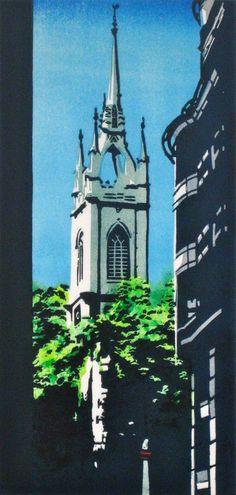 St. Dunstan in the East, London by Mary Brooke, lino, via Spitalfields Life blog.