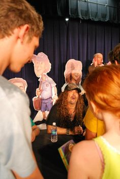 """The kids admiring Jess Harnell at the Adventures in Odyssey's 25th anniversary """"Birthday Bash""""!"""