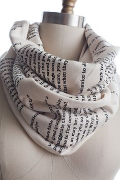 Pride and Prejudice Book Scarf.ohhhhh I want this go Othello or Wuthering Heights of better yet bible verses!