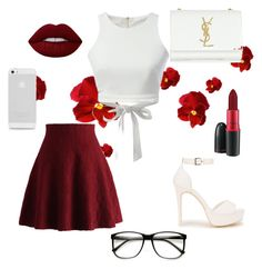 """""""Summer"""" by chynaqmoore ❤ liked on Polyvore featuring Nly Shoes, Yves Saint Laurent, Chicwish, MAC Cosmetics, Lime Crime, WithChic, ZeroUV, white, red and summerstyle"""