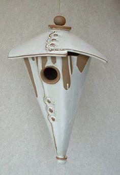 Stoneware Cone Birdhouse-Two Piece