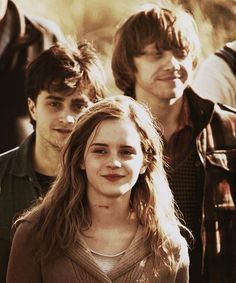 The trio. Harry Potter, Hermione Granger and Ron Weasley.  Harry Potter.  Dan Radcliffe, Emma Watson and Rupert Grint.