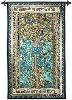 """""""Woodpecker William Morris Green Tapestry Wall Hanging"""" This tapestry depicts a woodpecker against an ornate backdrop and was designed by Morris & Co in 1877. Most of the company's production was a co"""