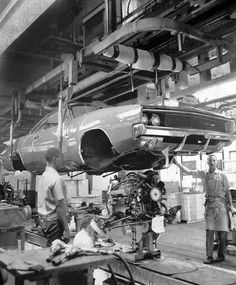 1968 Dodge Charger in the assembly line