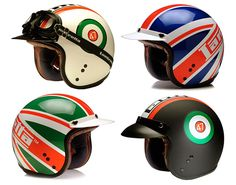 Classic helmets from Lambretta Custom Motorcycle Helmets, Custom Helmets, Racing Helmets, Motorcycle Gear, Biker Helmets, Women Motorcycle, Scooter Helmet, Cafe Racer Helmet, Image Moto