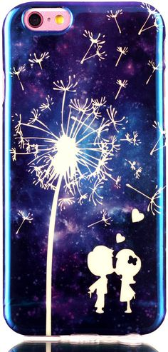 iPhone 6 Case iPhone 6S Case Cover 4.7 inch AIYZE New Desion Cool Blue Light Soft TPU Gel Slim Protective Back Case with Universal Silicone Mobile Phone Stand ( Lovers Dandelion ). There is Fashion Cool Blue light on the case, Color changed from different