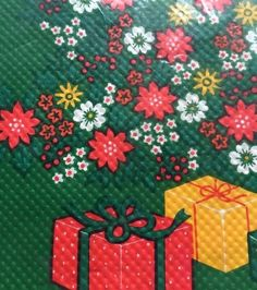 Christmas Tablecover Vintage 1984 American Greetings Tablecloth 54x96 USA Green #AmericanGreetings