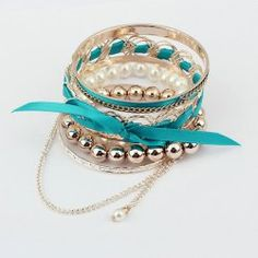 6PCS Of Modern Style Bead and Chains Design Women's Bowknot Multi-Layered Bracelets