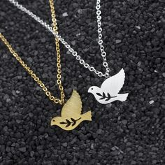 10pcs Stainless Steel Peace Dove Bird Pendants Necklaces Women Jewelry Chain Olive Branch Statement Necklace Tattoo Choker #Affiliate