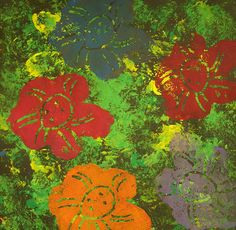 "Warhol flower prints: Students printed with crumpled grocery bags to create a textured ""grass"" background. Each student made his or her own flower by drawing onto styro foam and cutting it out."