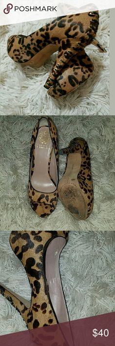 Vince Camuto Mocha Hair Animal Print Lace Heels Vince Camuto Mocha Hair Animal Print Lace Heel Stiletto Peep Toe Pump 7.5  5 inch heel. 1 inch platform.  Cute shoes in good used condition.. Small flaw at toe and inside where a couple of spots are peeling (can't see this when worn).   LB Vince Camuto Shoes Heels