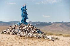 This is a Mongolian ovoo (or oboo.) Mountain spirits and nature spirits are worshipped at ovoos, which are often found in the mountains and close to roads. They are roughly conical shaped stone heaps often with a large branch of tree, and about 6-10 feet/2-3 meters tall.  Travellers passing an ovoo should walk around it 3 times in clockwise direction, to show respect for the spirit, and add a rock to the pile to receive good luck.