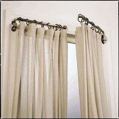 Replace your curtain rods with swing arm rods to open up the room and allow more light in. Windows appear to be bigger than they are, too. Love swing arm curtain rods, I have been on the hunt for old ones for a long time. Drapery Rods, Swing Arm Curtain Rods, My New Room, Window Coverings, Burlap Window Treatments, Unique Window Treatments, Decorating Tips, Home Projects, Home Interior Design
