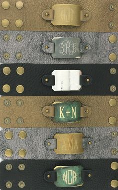 Leather cuffs with engravable (& changeable!) monogrammed plates | Initial Outfitters