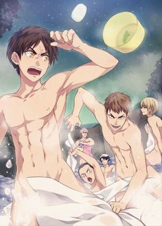 SNK in the Hot Springs! Erwin is very shy! #Eren #Jean #Armin #Cornie #Levi #Erwin #Hot springs #Towels #SNK
