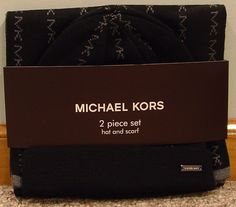 NIP Michael Kors 2 Piece Set Hat and Scarf MK Pin Striped #MichaelKors #HatScarf