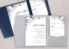 Pocket Wedding Invitation Template Set - Instant DOWNLOAD - EDITABLE TEXT - Chic Bouquet (Navy & Silver) - Microsoft® Word Format