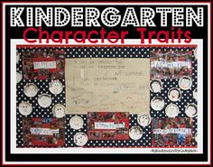 Kindergarten bulletin board with handwritten pledge and photos of character traits (from blog article with 2 dozen examples of classroom rules)