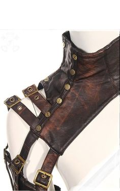 sleeve armour - detail. Steampunk, leather, brass buckles