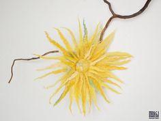 Cheerful spring flower brooch yellow flower by KVFeltedDesigns, $20.00