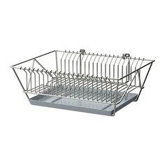 IKEA - FINTORP, Opvaskestativ, Kan placeres på væggen eller stilles på køkkenbordet.Aftagelig bakke nederst opsamler vand fra opvaskestativet.