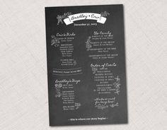 Chalkboard Wedding Program by HummingbirdShops on Etsy, $25.00